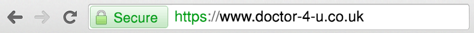 A browser address bar containing the Doctor4U domain name
