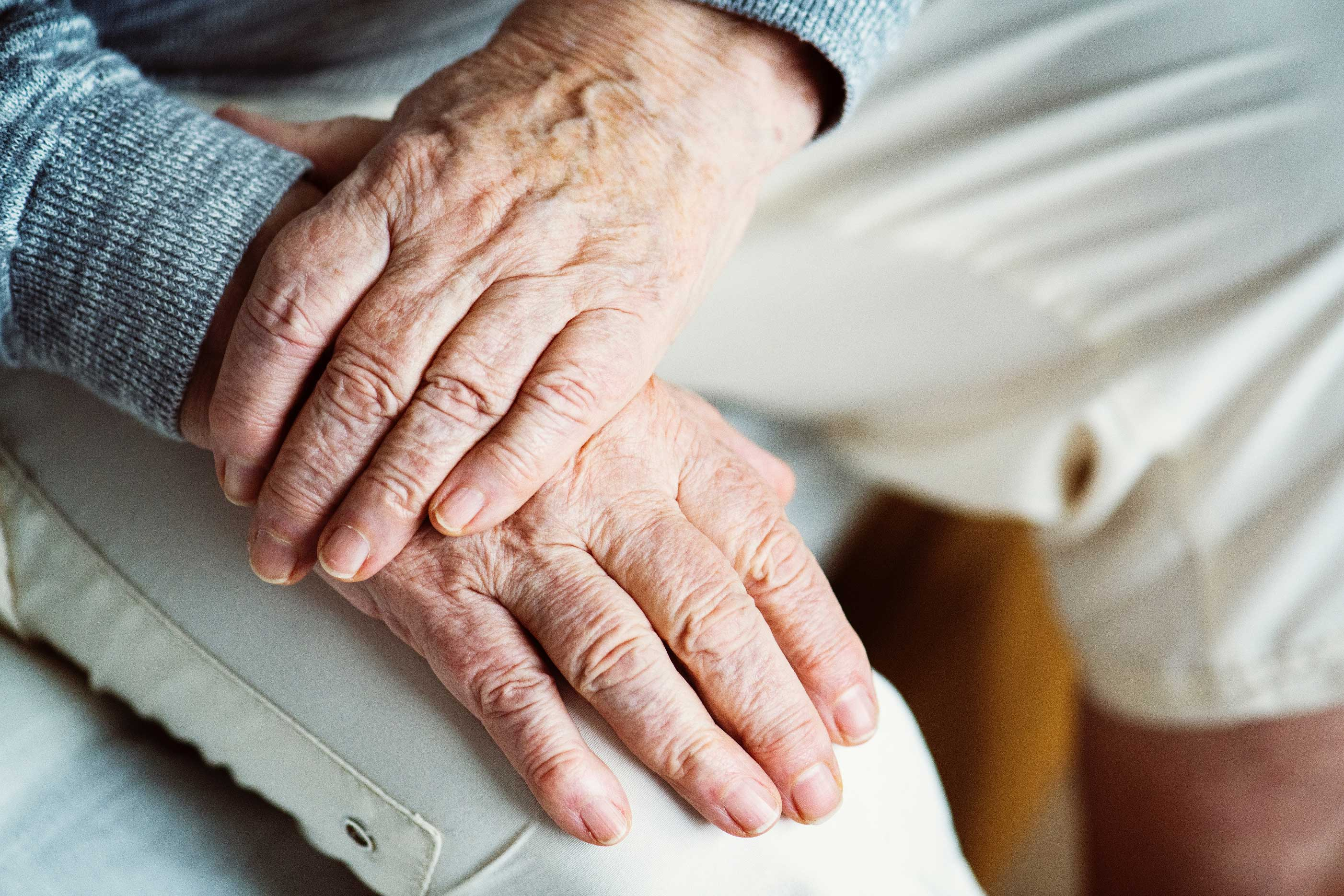 Old person with Alzheimer's hands